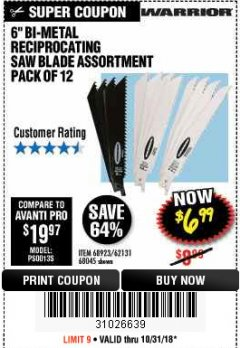 "Harbor Freight Coupon 6"" BI-METAL RECIPROCATING SAW BLADE ASSORTMENT PACK OF 12 Lot No. 68045/68923/62131 Expired: 10/31/18 - $6.99"