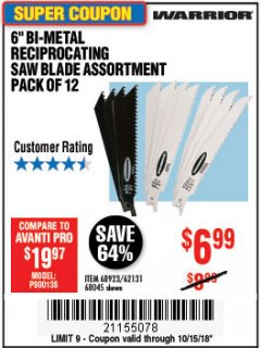 "Harbor Freight Coupon 6"" BI-METAL RECIPROCATING SAW BLADE ASSORTMENT PACK OF 12 Lot No. 68045/68923/62131 Expired: 10/15/18 - $6.99"