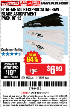 "Harbor Freight Coupon 6"" BI-METAL RECIPROCATING SAW BLADE ASSORTMENT PACK OF 12 Lot No. 68045/68923/62131 Expired: 12/8/19 - $6.99"