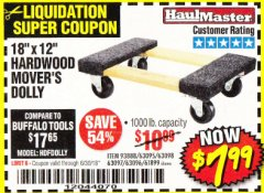 "Harbor Freight Coupon 18"" X 12"" HARDWOOD MOVER'S DOLLY Lot No. 93888/60497/61899/62399/63095/63096/63097/63098 Expired: 6/30/18 - $7.99"