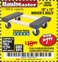 "Harbor Freight Coupon 18"" X 12"" HARDWOOD MOVER'S DOLLY Lot No. 93888/60497/61899/62399/63095/63096/63097/63098 Expired: 10/15/18 - $7.99"
