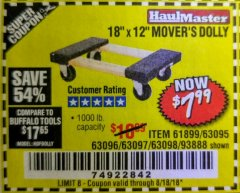 "Harbor Freight Coupon 18"" X 12"" HARDWOOD MOVER'S DOLLY Lot No. 93888/60497/61899/62399/63095/63096/63097/63098 Expired: 8/18/18 - $7.99"