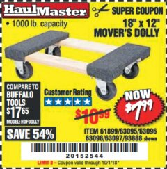 "Harbor Freight Coupon 18"" X 12"" HARDWOOD MOVER'S DOLLY Lot No. 93888/60497/61899/62399/63095/63096/63097/63098 Expired: 10/1/18 - $7.99"