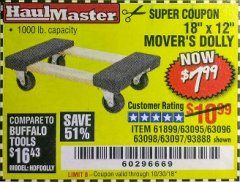 "Harbor Freight Coupon 18"" X 12"" HARDWOOD MOVER'S DOLLY Lot No. 93888/60497/61899/62399/63095/63096/63097/63098 Expired: 10/30/18 - $7.99"