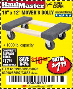 "Harbor Freight Coupon 18"" X 12"" HARDWOOD MOVER'S DOLLY Lot No. 93888/60497/61899/62399/63095/63096/63097/63098 Expired: 11/12/18 - $7.99"
