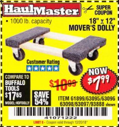 "Harbor Freight Coupon 18"" X 12"" HARDWOOD MOVER'S DOLLY Lot No. 93888/60497/61899/62399/63095/63096/63097/63098 Expired: 12/20/18 - $7.99"