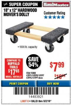 "Harbor Freight Coupon 18"" X 12"" HARDWOOD MOVER'S DOLLY Lot No. 93888/60497/61899/62399/63095/63096/63097/63098 Expired: 9/2/18 - $7.99"