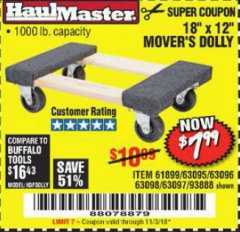 "Harbor Freight Coupon 18"" X 12"" HARDWOOD MOVER'S DOLLY Lot No. 93888/60497/61899/62399/63095/63096/63097/63098 Expired: 11/3/18 - $7.99"
