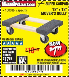 "Harbor Freight Coupon 18"" X 12"" HARDWOOD MOVER'S DOLLY Lot No. 93888/60497/61899/62399/63095/63096/63097/63098 Expired: 11/30/18 - $7.99"