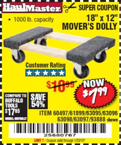"Harbor Freight Coupon 18"" X 12"" HARDWOOD MOVER'S DOLLY Lot No. 93888/60497/61899/62399/63095/63096/63097/63098 Expired: 1/20/19 - $7.99"