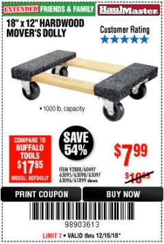 "Harbor Freight Coupon 18"" X 12"" HARDWOOD MOVER'S DOLLY Lot No. 93888/60497/61899/62399/63095/63096/63097/63098 Expired: 12/16/18 - $7.99"