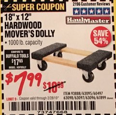 "Harbor Freight Coupon 18"" X 12"" HARDWOOD MOVER'S DOLLY Lot No. 93888/60497/61899/62399/63095/63096/63097/63098 Valid Thru: 2/28/19 - $7.99"