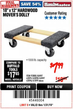 "Harbor Freight Coupon 18"" X 12"" HARDWOOD MOVER'S DOLLY Lot No. 93888/60497/61899/62399/63095/63096/63097/63098 Expired: 1/31/19 - $7.99"