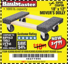 "Harbor Freight Coupon 18"" X 12"" HARDWOOD MOVER'S DOLLY Lot No. 93888/60497/61899/62399/63095/63096/63097/63098 Valid Thru: 5/4/19 - $7.99"