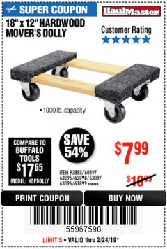 "Harbor Freight Coupon 18"" X 12"" HARDWOOD MOVER'S DOLLY Lot No. 93888/60497/61899/62399/63095/63096/63097/63098 Valid Thru: 2/24/19 - $7.99"