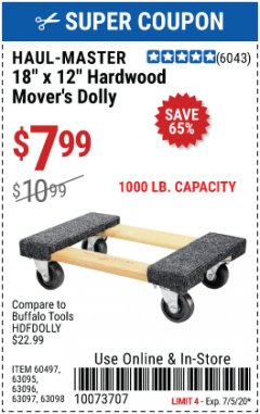 "Harbor Freight Coupon 18"" X 12"" HARDWOOD MOVER'S DOLLY Lot No. 93888/60497/61899/62399/63095/63096/63097/63098 EXPIRES: 7/5/20 - $7.99"