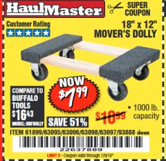 "Harbor Freight Coupon 18"" X 12"" HARDWOOD MOVER'S DOLLY Lot No. 93888/60497/61899/62399/63095/63096/63097/63098 Expired: 7/9/18 - $7.99"