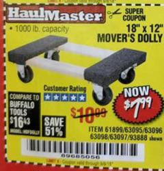 "Harbor Freight Coupon 18"" X 12"" HARDWOOD MOVER'S DOLLY Lot No. 93888/60497/61899/62399/63095/63096/63097/63098 Expired: 9/5/18 - $7.99"