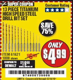 Harbor Freight Coupon 13 PIECE TITANIUM NITRIDE COATED HIGH SPEED STEEL DRILL BITS Lot No. 1800/61621 Expired: 12/14/19 - $4.99