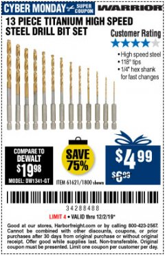 Harbor Freight Coupon 13 PIECE TITANIUM NITRIDE COATED HIGH SPEED STEEL DRILL BITS Lot No. 1800/61621 Expired: 12/2/19 - $4.99