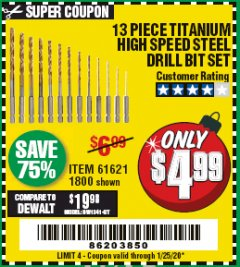 Harbor Freight Coupon 13 PIECE TITANIUM NITRIDE COATED HIGH SPEED STEEL DRILL BITS Lot No. 1800/61621 Valid Thru: 1/25/20 - $4.99