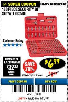 Harbor Freight Coupon 100 PIECE SECURITY BIT SET Lot No. 62657/68457 Expired: 8/31/18 - $6.99