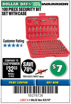 Harbor Freight Coupon 100 PIECE SECURITY BIT SET Lot No. 62657/68457 Expired: 8/5/18 - $7