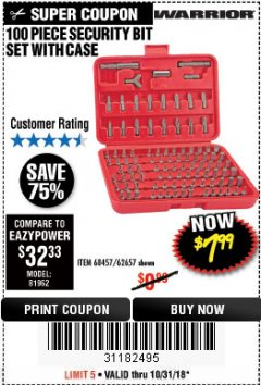 Harbor Freight Coupon 100 PIECE SECURITY BIT SET Lot No. 62657/68457 Expired: 10/31/18 - $7.99