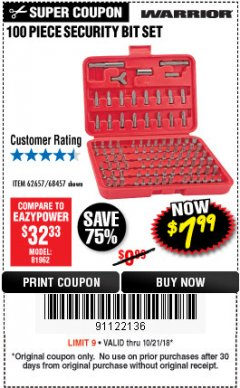 Harbor Freight Coupon 100 PIECE SECURITY BIT SET Lot No. 62657/68457 Expired: 10/21/18 - $7.99