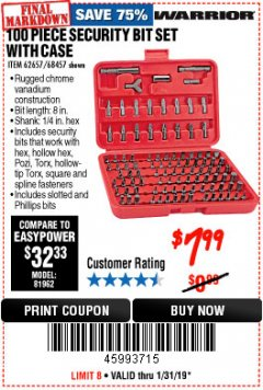 Harbor Freight Coupon 100 PIECE SECURITY BIT SET Lot No. 62657/68457 Expired: 1/31/19 - $7.99