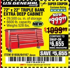 "Harbor Freight Coupon 72"" X 22"" TRIPLE BANK EXTRA DEEP CABINET Lot No. 61656/64167/64003/64004 Expired: 10/15/18 - $999.99"