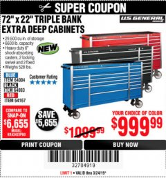"Harbor Freight Coupon 72"" X 22"" TRIPLE BANK EXTRA DEEP CABINET Lot No. 61656/64167/64003/64004 Expired: 3/25/19 - $999.99"