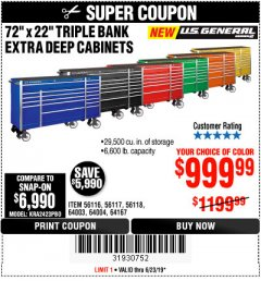 "Harbor Freight Coupon 72"" X 22"" TRIPLE BANK EXTRA DEEP CABINET Lot No. 61656/64167/64003/64004 Expired: 6/23/19 - $999.99"
