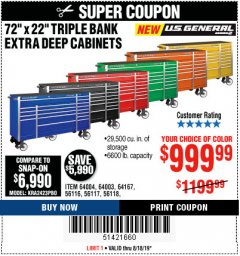 "Harbor Freight Coupon 72"" X 22"" TRIPLE BANK EXTRA DEEP CABINET Lot No. 61656/64167/64003/64004 Expired: 8/18/19 - $999.99"