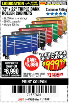 "Harbor Freight Coupon 72"" X 22"" TRIPLE BANK EXTRA DEEP CABINET Lot No. 61656/64167/64003/64004 Expired: 11/10/19 - $999.99"