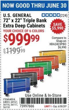 "Harbor Freight Coupon 72"" X 22"" TRIPLE BANK EXTRA DEEP CABINET Lot No. 61656/64167/64003/64004 EXPIRES: 6/30/20 - $999.99"