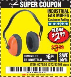 Harbor Freight Coupon INDUSTRIAL EAR MUFFS Lot No. 43768/60792/61372 Expired: 11/10/18 - $2.99