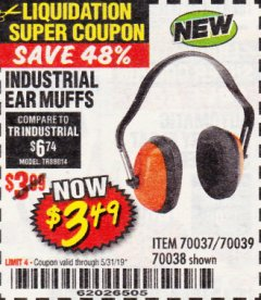 Harbor Freight Coupon INDUSTRIAL EAR MUFFS Lot No. 43768/60792/61372 Expired: 5/31/19 - $3.49