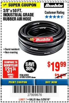 "Harbor Freight Coupon DIABLO 3/8"" X 50 FT. HEAVY DUTY PREMIUM RUBBER AIR HOSE Lot No. 62884/69580/61939/62890 Expired: 5/20/18 - $19.99"