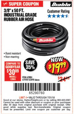 "Harbor Freight Coupon DIABLO 3/8"" X 50 FT. HEAVY DUTY PREMIUM RUBBER AIR HOSE Lot No. 62884/69580/61939/62890 Expired: 7/31/18 - $19.99"
