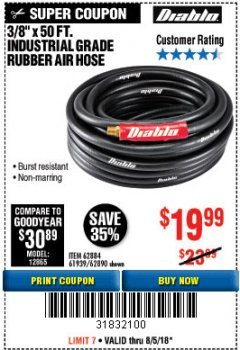 "Harbor Freight Coupon DIABLO 3/8"" X 50 FT. HEAVY DUTY PREMIUM RUBBER AIR HOSE Lot No. 62884/69580/61939/62890 Expired: 8/5/18 - $19.99"