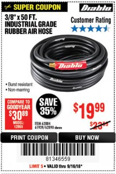 "Harbor Freight Coupon DIABLO 3/8"" X 50 FT. HEAVY DUTY PREMIUM RUBBER AIR HOSE Lot No. 62884/69580/61939/62890 Expired: 9/16/18 - $19.99"