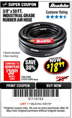 "Harbor Freight Coupon DIABLO 3/8"" X 50 FT. HEAVY DUTY PREMIUM RUBBER AIR HOSE Lot No. 62884/69580/61939/62890 Expired: 10/21/18 - $18.99"