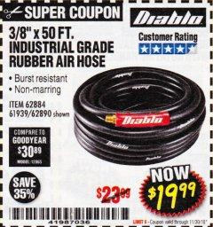 "Harbor Freight Coupon DIABLO 3/8"" X 50 FT. HEAVY DUTY PREMIUM RUBBER AIR HOSE Lot No. 62884/69580/61939/62890 Expired: 11/30/18 - $19.99"