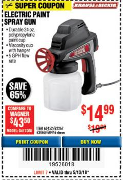 Harbor Freight Coupon 24 OZ. ELECTRIC PAINT SPRAY GUN Lot No. 60446/62267/63452/63060 Expired: 5/13/18 - $14.99