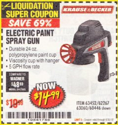 Harbor Freight Coupon 24 OZ. ELECTRIC PAINT SPRAY GUN Lot No. 60446/62267/63452/63060 Expired: 6/30/18 - $14.99