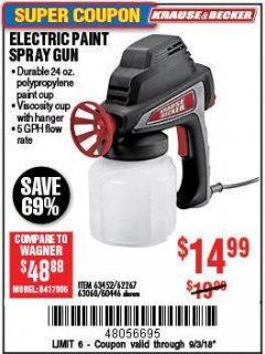 Harbor Freight Coupon 24 OZ. ELECTRIC PAINT SPRAY GUN Lot No. 60446/62267/63452/63060 Expired: 9/3/18 - $14.99