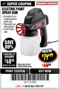 Harbor Freight Coupon 24 OZ. ELECTRIC PAINT SPRAY GUN Lot No. 60446/62267/63452/63060 Expired: 10/31/18 - $14.99
