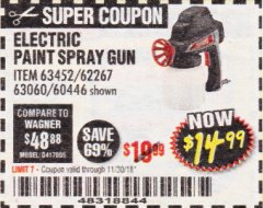 Harbor Freight Coupon 24 OZ. ELECTRIC PAINT SPRAY GUN Lot No. 60446/62267/63452/63060 Expired: 11/30/18 - $14.99