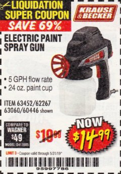 Harbor Freight Coupon 24 OZ. ELECTRIC PAINT SPRAY GUN Lot No. 60446/62267/63452/63060 EXPIRES: 5/31/19 - $14.99